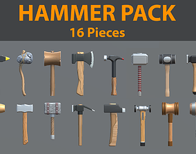 3D asset Low Poly Hammer Pack - 16 Pieces