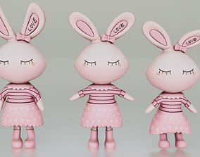 game-ready Bunny Doll Teddy - Low-poly 3D Model