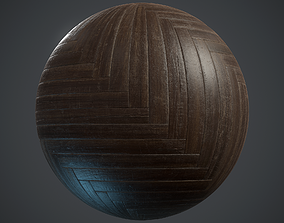3D model Old herringbone Parquet - PBR textures