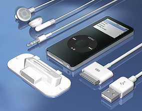 MP3 Music Player with Accessories 3D model