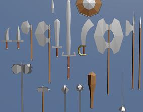 Cartoonish medieval melee weapons bundle 3D asset