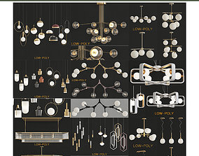 Chandelier 10 pieces 3D model realtime