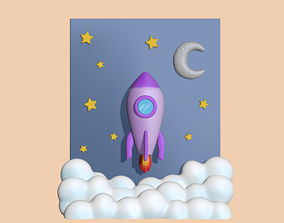 3D printable model A cute Rocket Scenery to decorate and