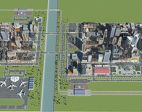 3D model realtime Realistic Lowpoly Simple City