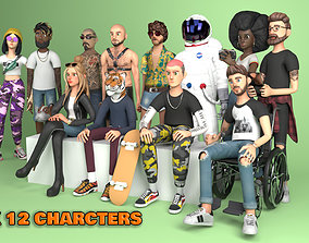 3D model Pack 12 Characters