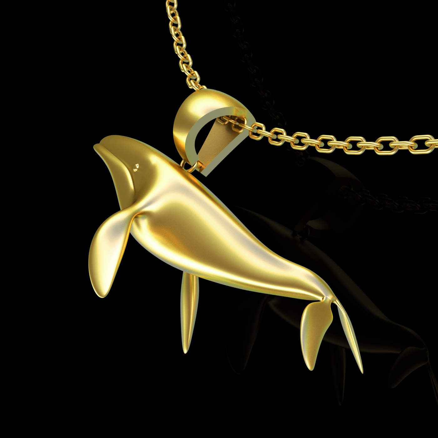Big Whale Pendant jewelry Gold 3D print model