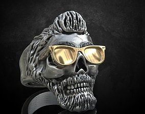 3D print model Ring skull with glasses and without fit 2