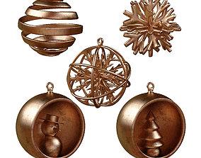 Set of five Christmas tree toys 3D model