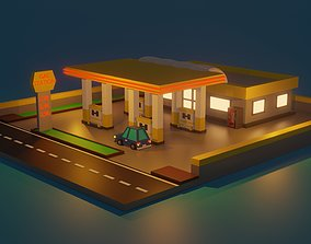 3D asset game-ready Low Poly Gas Station