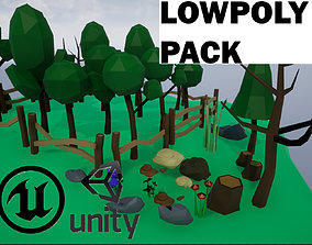 Lowpoly Polygon Platformer-tree-rock-fence-plant Pack 3D