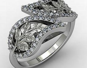 3D printable model Leaves diamond ring