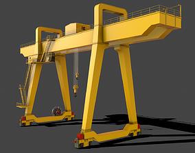 PBR Double Girder Gantry Crane V1 - Yellow Light 3D model