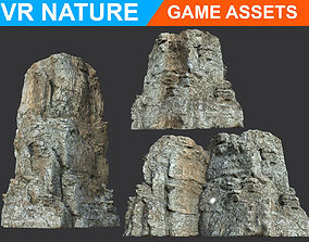 3D asset Low poly Realistic Gray Cliff Modular 180618