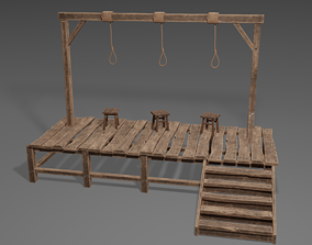 Gallows Low-poly 3D model