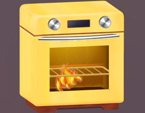 crazy oven 3D model animated
