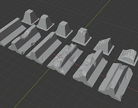 3D printable model Concrete barrier and Dragon teeth for