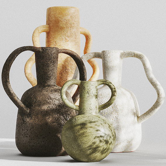 SET of VASES WITH HANDLES by ZARA HOME 3d model