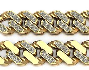 3d 3D model cuban chain necklace bracelet