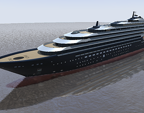 190m Ritz-Carlton Cruise Yacht 3d low-poly game-ready