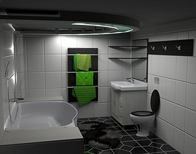 3D model Modern Black-White-Green Bathroom