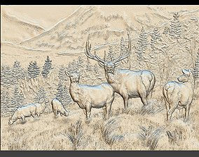3D print model Deer in the mountains - relief - 2018