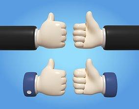 Cartoon Hand Icon 3D model realtime