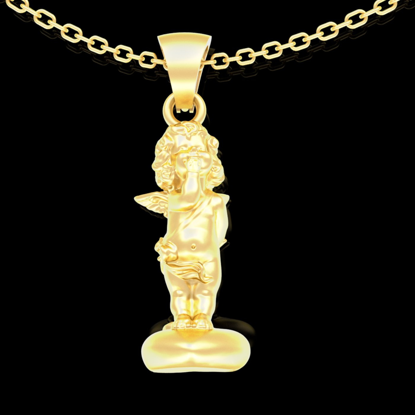Angel on the heart V3 Pendant jewelry Gold 3D print model