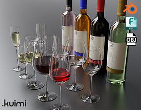3D model Wine Bottles With Glasses