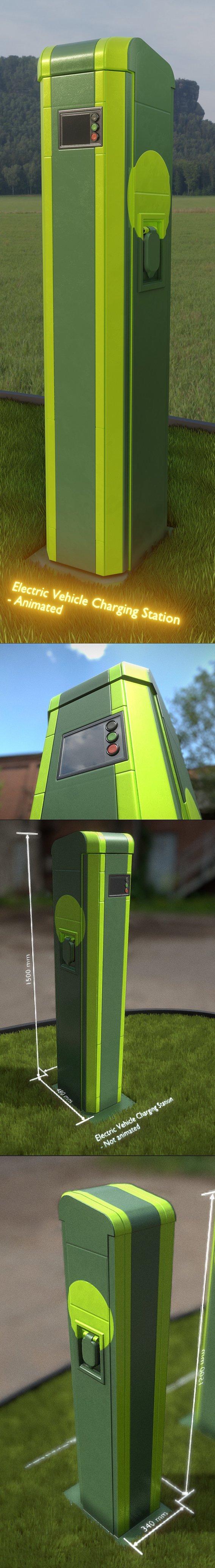 Electric Vehicle Charging Station 2 (Normal Version) (Blender-2.92 Eevee)