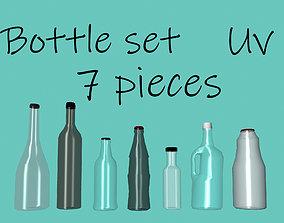 Collection of set glass bottles 7 pieces 3D asset