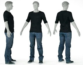 Male Casual Outfit 37 Tshirt Jeans 3D asset