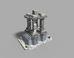 low poly temple pillar 6 3D model