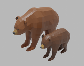 3D asset Cartoon Bear Family