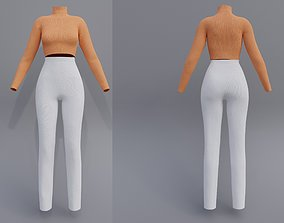 3D female outfit - Turtleneck croptop and pants