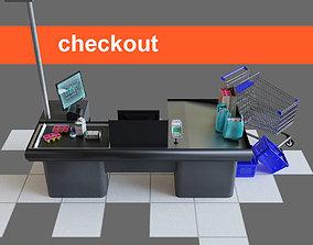 Checkout counter desk for grocer supermarket 3D model 1