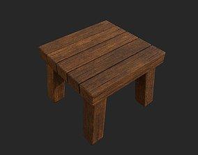 wooden stool 3D asset low-poly highpolly