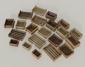 3D asset low-poly Wooden crates