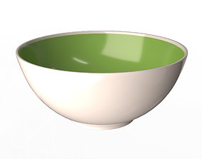 Green and White Cereal Bowl 3D asset