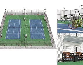 3D outdoor Tennis court Hq