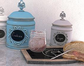 Strawberry Jam and Jar Set 3D