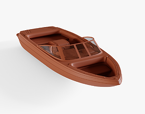 motorboat 3D asset low-poly