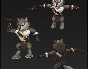 3D model Clash royale style animated wolves fantasy