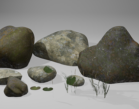 Mossy Lake or River or Pond Rock 3D