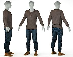 3D asset Male Casual Outfit 6 Top Trousers Footwear