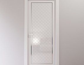 White interior door with glossy arabesque tiles 3D