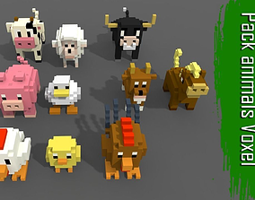 Pack 10 Voxel Farm Animals 3D model