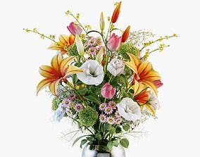 Bouquet of various flowers 3D model