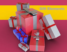 3D Gifts with bow and ribbon