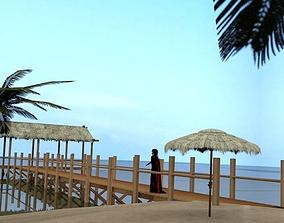 3D asset Beach Pier Low Poly