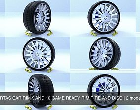 3D ORTAS CAR RIM 9 AND 10 GAME READY RIM TIRE AND DISC